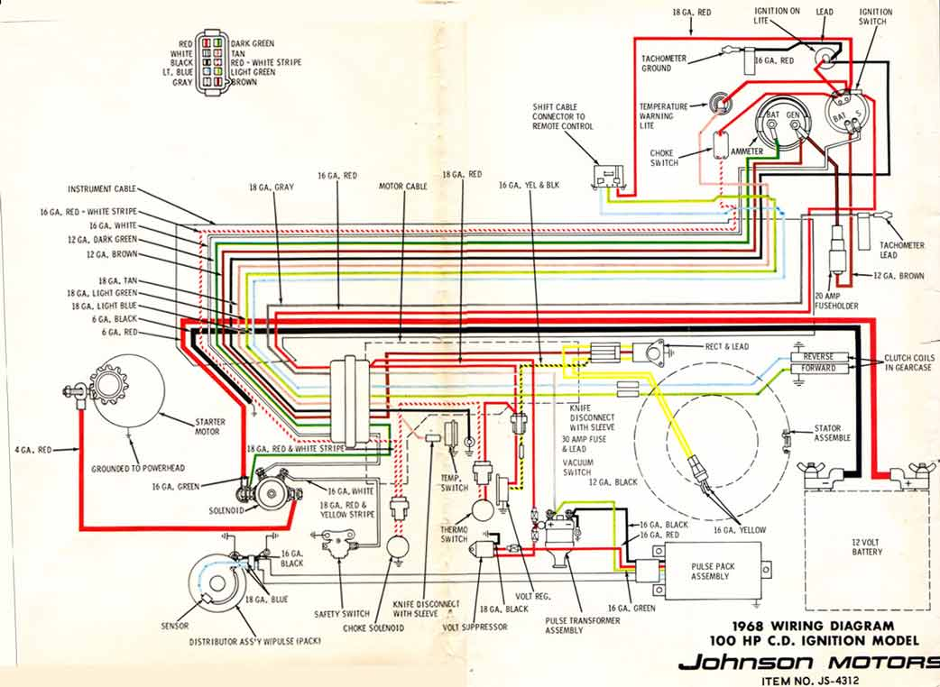 68_100hp_V4 omc boat technical info 1964 johnson outboard 40 hp wiring diagram at bayanpartner.co